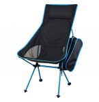 FOLDING CHAIR - spalliera ALTA - NERO-AZZURRO